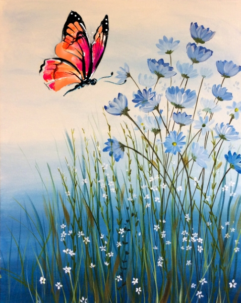 BlueFlowers&Butterfly