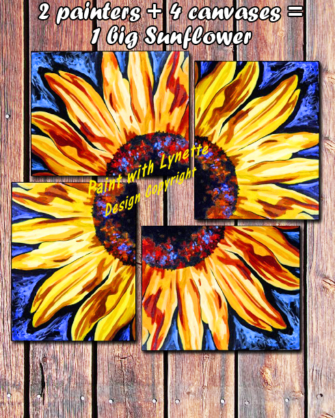 4 part Sunflower - On barnboards 2