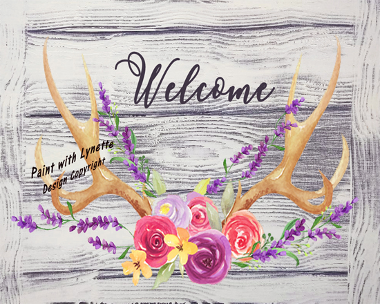 Spring Antlers and Lavender - grey 2