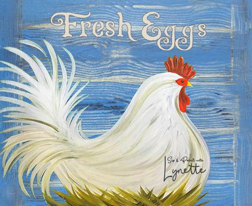 Fresh Eggs on blue woodgrain