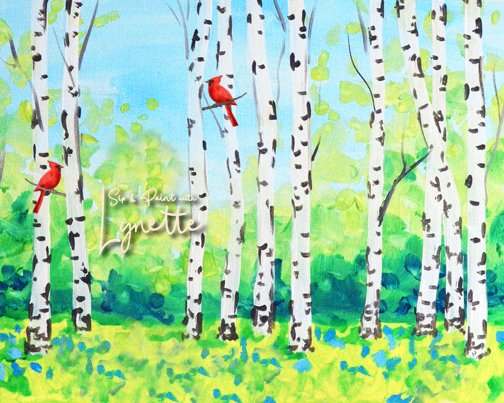 Summer Birch Trees with Cardinal 2
